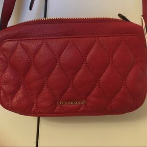 Red genuine leather cross body bag