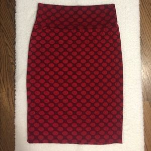 Lularoe Red Polka Dot Jacquard Cassie Pencil Skirt