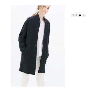 Zara Long Navy Sweater Coat Sz XS
