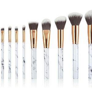 Other - 🌟 NEW 10 Rose Gold & Marble Makeup Brush Set 🌟