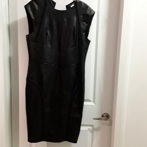 Black Knit and Vegan Leather Shift Dress