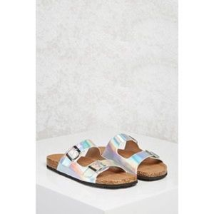 Holographic Slip On Sandals