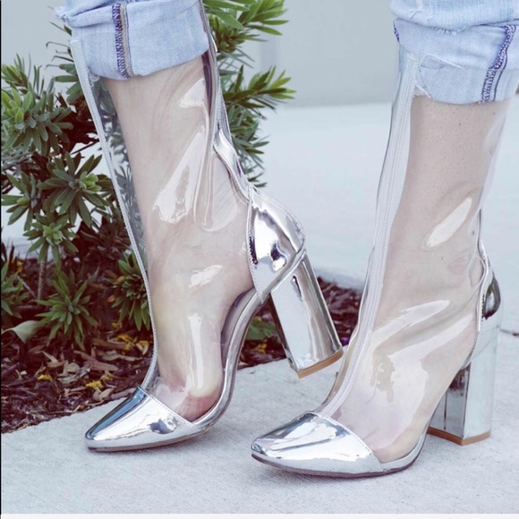 2647ae12f17 Clear Pointy Toe Chunky Heel Boot