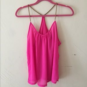 Tops - Hot Pink shear Tank Top with gold chain straps