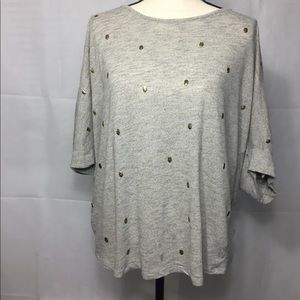Lane Bryant Womens 22/24 Knit Top with Gold Skulls