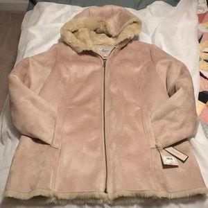 Women's faux suede &  faux  fur lined coat