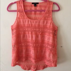 Coral / orange crochet tank top from forever 21