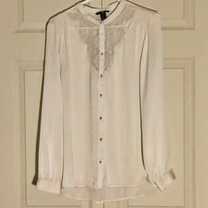 Cream Blouse with Lace finish around neck