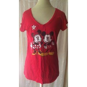 Red Minnie & Mickey V-Neck Tee