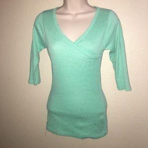 Green Michael Stars tee with 3/4 length sleeves