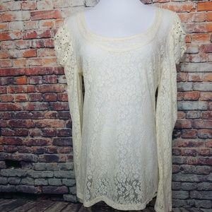Guess Long Sleeve Cream Floral Lace Embellished