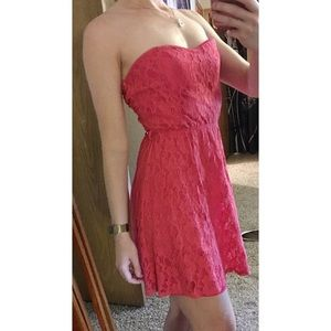Pink Strapless Lace Cutout Back Dress - Small