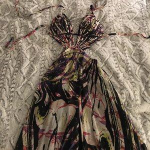 Printed high-low dress