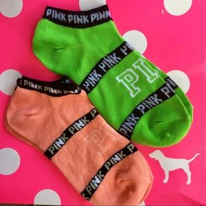 2 Pairs Victoria's Secret Pink ankle socks