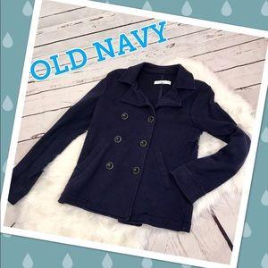 New York & Company Small Navy Blue Cotton Pea Coat