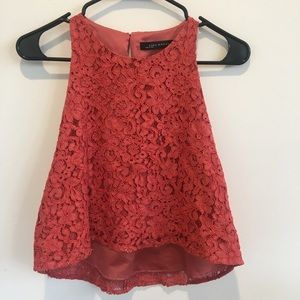 Zara lace high low crop top
