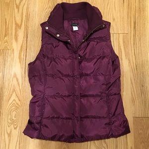 J Crew burgundy pink puffer quilted vest size med