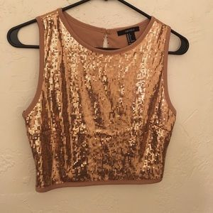 Champagne-color sequin tank