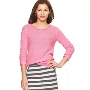 Gap Reverse Stitch Sweater Neon Pink Wool Blend M