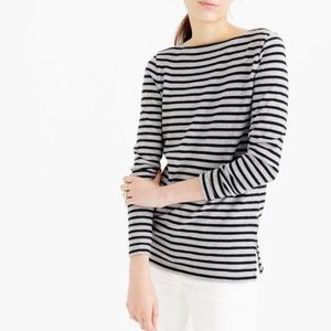 J.Crew Gray Striped Long Sleeve Top