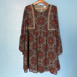 Xhilaration XL boho babydoll dress w/ lace accents