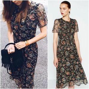 Zara Woman Black floral lace dress