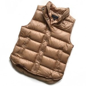 j.crew • nwt gold shiny puffer down vest