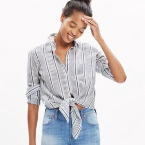 Madewell Striped Tie-Front Shirt