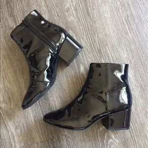 H&M Black Patent Ankle Boots