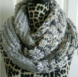 Gray White Khaki Soft Chunky Knit Infinity Scarf