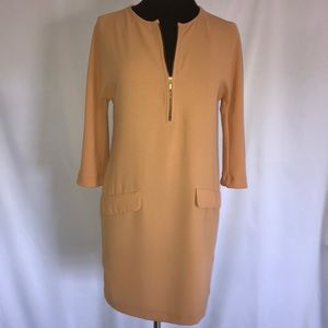 ZARA WOMAN TANGERINE SHIFT DRESS. SIZE S