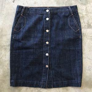 J. Crew High Waisted Denim Pencil Skirt, Like New