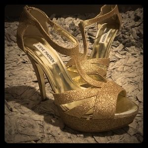 Steve Madden gold glitter heels size 8