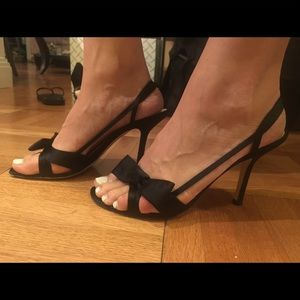 Kate Spade satin black heeled sandals with bow