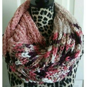 Dusty Rose Wine Peach Chunky Knit Infinity Scarf