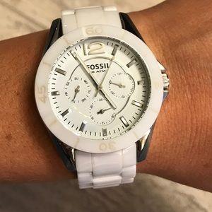 White Ceramic Strap Fossil Watch