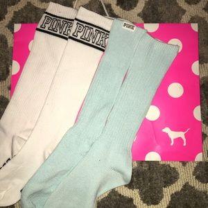 2 Pairs Victoria's Secret Pink high knee socks