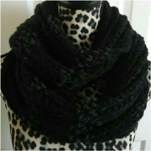 Black Charcoal Chunky Knit Infinity Scarf