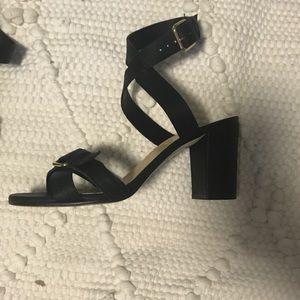 J. Crew Black Buckled Mid Heel Leather Sandal