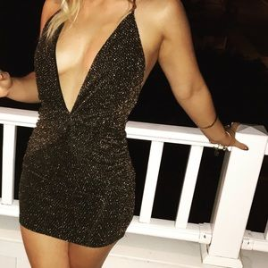 Gold/black Plunge Dress