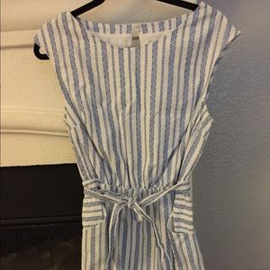 Striped blue and white belted dress with pockets
