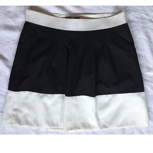 Limited Black White Color Block A-Line Skirt Sz 2