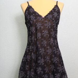 Betsey Johnson Black Floral Nightie Nightgown Sz L