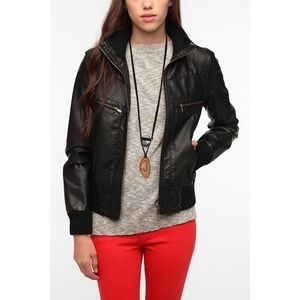 Urban outfitters vegan leather bomber jacket