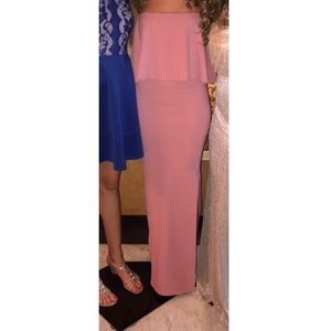 Pink side split maxi dress