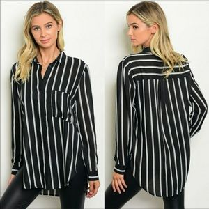 Tops - Black & White Striped Blouse