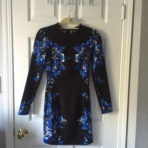 Blue & Black floral patterned ASOS fitted dress
