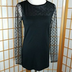 LOFT black top with sheer polka dot sleeves
