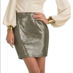 Kardashian Kollection Gold Metallic Mini Skirt L