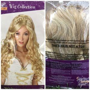 Long blonde wig. Renaissance princess style.